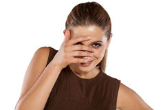 Ashamed woman royalty free stock photography
