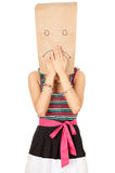 Ashamed young woman in sad paper head Royalty Free Stock Photos