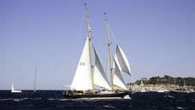 Ashanti IV. Classic sailing yacht Ashanti IV heading for the port of St-Tropez Royalty Free Stock Photography