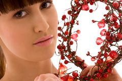 Ashberry woman. Portrait of lovely woman with red ashberry royalty free stock photo