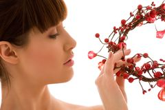 Ashberry woman. Portrait of lovely woman with red ashberry stock photos