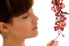 Ashberry woman. Portrait of lovely woman with red ashberry royalty free stock photos