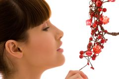 Ashberry woman. Portrait of lovely woman with red ashberry stock photo