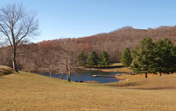 Ashe Park Trout Pond. This small pond is found in Ashe County Park in Jefferson, North Carolina stock photo