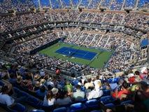 Ashe Stadium - US Open Tennis. A crowded Arthur Ashe Stadium for a 2014 U.S. Open tennis match, Nishikori vs Wawrinki stock photography