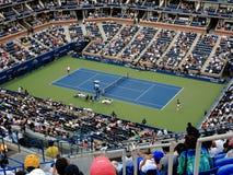 Ashe Stadium - US Open Tennis. A crowded Arthur Ashe Stadium for a 2014 U.S. Open men's tennis match, Wawrinka vs Nishikori Royalty Free Stock Images
