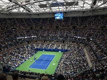 Ashe Stadium - US Open Tennis. A crowded Arthur Ashe Stadium, under a newly installed closed roof, for a 2017 U.S. Open tennis match, Vandeweghe vs. Pliskova Stock Image