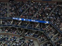 Ashe Stadium - US Open Tennis. Scoreboard at Arthur Ashe Stadium for a 2017 U.S. Open tennis match, Nadal vs. Rublev Stock Photography