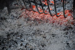 Ashes. Photo of my fireplace in the night royalty free stock photo
