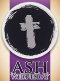 Ashes Bowl with a Cross Print Commemorating Ash Wednesday Celebration, Vector Illustration. Commemorative poster for Ash Wednesday with top view of a bowl with Stock Photography