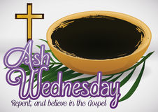 Ashes Bowl, Palm Branch and Crucifix Ready for Ash Wednesday, Vector Illustration Stock Images