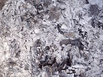 Ashes and cinders from ghost money paper burning for Ancestor in Chinese New Year. Close up ashes and cinders from ghost money paper burning for Ancestor in stock image