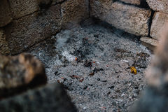 Ashes in a Fire Pit Burnt Stock Photography