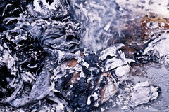 Ashes With Smoke After Fire Extinguished Royalty Free Stock Images