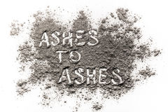 Ashes to ashes written in ashes Royalty Free Stock Images