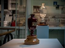 The Ashes Trophy original in front and the replica in background. London, United Kingdom - June 26, 2016: The Ashes Trophy original in front and the replica in Stock Photography