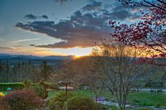 Asheville Garden at Sunset. Hillside garden at Sunset looking towards the Blue Ridge Mountains Royalty Free Stock Images