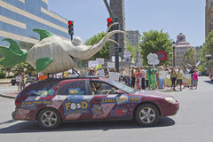 Asheville GMO Protest Rally Downtown With Supportive Fish Car Royalty Free Stock Photo