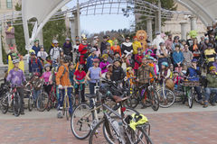 Asheville Halloween Bike Riders Royalty Free Stock Images
