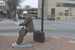 Asheville Living Statue Leans for Tips Stock Images