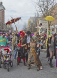 Asheville Mardi Gras Paraders Royalty Free Stock Photography