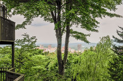 Asheville nc skyline through the  trees Royalty Free Stock Photo