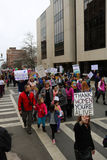 Asheville NC Women March. Vertical view in downtown street full of people marching during Womens` March on Asheville NC January 21st 2017 Stock Images