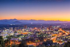 Asheville, North Carolina, USA. Downtown skyline at dusk stock photos