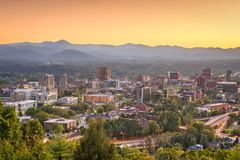 Asheville, North Carolina, USA. Downtown skyline at dusk royalty free stock photo