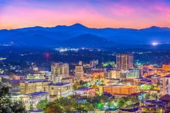 Asheville, North Carolina, USA Skyline. Over downtown with the Blue Ridge Mountains stock image