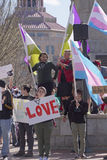 Asheville Protesters Holding Trans Signs and Flags Protest HB2 Royalty Free Stock Photography