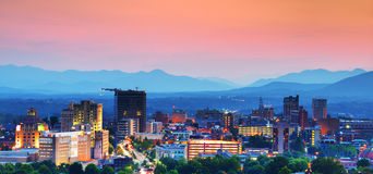 Asheville Skyline. Asheville, North Carolina skyline nestled in the Blue Ridge Mountains Stock Photography
