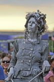 Asheville Woman Drummer Living Statue Royalty Free Stock Photos