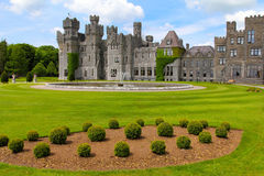 Ashford castle garden and fountain Royalty Free Stock Photography