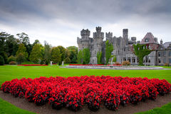 Ashford castle and gardens in Co. Mayo Stock Photo