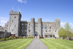 Ashford Castle and gardens in Cong, Ireland. The 13th Century Ashford Castle hotel in Cong, Ireland Royalty Free Stock Photography