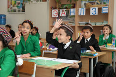 Ashgabad,土库曼斯坦- 2014年11月4日 小组学生 免版税库存照片