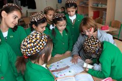 Ashgabad, Turkmenistan - November 4, 2014. Group of students aft Royalty Free Stock Image