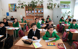 Ashgabad, Turkmenistan - November 4, 2014. Group of students in lesson in the classroom . November 4, 2014. Stock Photos