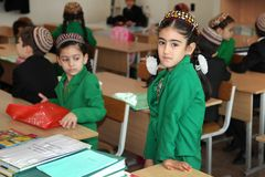 Ashgabad, Turkmenistan - November 4, 2014. Group of students in Stock Photography