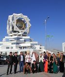 Ashgabad, Turkmenistan - October 15, 2014. The bride and groom i Royalty Free Stock Photo