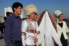 Ashgabad, Turkmenistan - October 15, 2014. The bride and groom i Royalty Free Stock Images