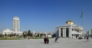 Ashgabad, Turkmenistan - October, 10 2014: Central square of Ash. Gabad in October, 10 2014. Turkmenistan. Ashgabat five times was recorded in the Guinness Book royalty free stock image
