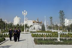 Ashgabad, Turkmenistan - October 10, 2014. Group of  law student Stock Photo