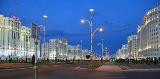 Ashgabad, Turkmenistan - October, 10 2017: Night view of the new boulevard in October, 10 2017. Ashkhabad. Turkmenistan.  royalty free stock images