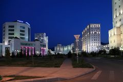 Ashgabad, Turkmenistan - October, 10 2014: Night view of the new Stock Images