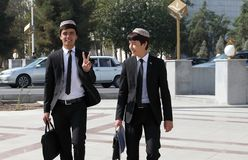 Ashgabad, Turkmenistan - October 10, 2014.  Two cheerful student Royalty Free Stock Photos