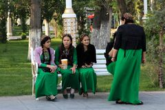 Ashgabad, Turkmenistan - October 10, 2014. Young girls in nation royalty free stock images