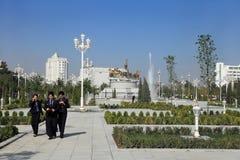 Ashgabad Turkmenistan - Oktober 10, 2014 Grupp av lagstudenten Arkivfoto