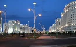 Ashgabad Turkmenistan - Oktober, 10 2014: Nattsikt av det nytt Royaltyfri Bild